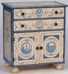 Hand Painted Farm Toile Two Door Nightstand via french-luxury.com
