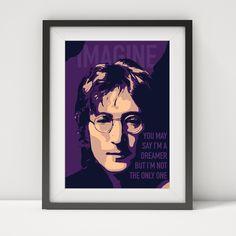 john lennon, john lennon poster, john lennon print, music poster, the beatles, john lennon lyrics, john lennon-imagine, music legend by greatomlondon on Etsy