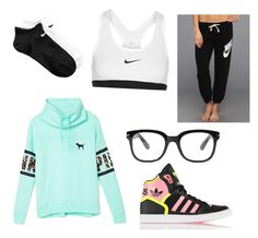 Sporty chic by mckenna513 on Polyvore featuring polyvore, fashion, style, Victoria's Secret PINK, NIKE, adidas Originals and Forever 21