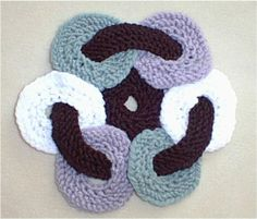 Circle-O-Trivet - From an old fashioned crochet design, we did this a bit different to make it even easier! Use up scraps of yarn too! Finished sizes is about 7 inches in diameter, so it is great for a tea pot, or casserole dish. Make lots of these up with your scrap yarns, for last minute gifts! Uses worsted weight yarns, knitting needles, US # 7.  $1.50