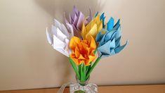 折り紙 花 クロッカスと葉 立体 簡単な折り方(niceno1)Origami Crocus flower and leaves 3D