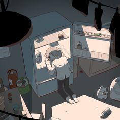 買い物行かなきゃ i have to go shopping Dark Art Illustrations, Art And Illustration, Sad Anime, Anime Art, Dessin Old School, Image Triste, Character Art, Character Design, Sun Projects