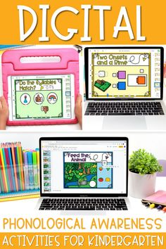 These Digital phonological awareness tasks are great to use as kindergarten Seesaw activities or on Google slides. They can practice skills like onset and rime, syllables, rhyming and more with this huge bundle of resources!