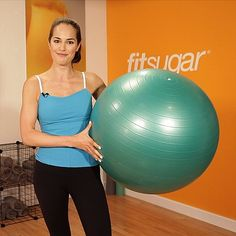 Easy Knee-Tuck Crunches: Capitalize on the instability of an exercise ball, and try the tuck crunch. This move strengthens your core while toning your low abs, arms, chest, and shoulders:    Get into a plank with your shins on the ball.  Pull your knees towards your chest, and then shoot legs back out. Keep your body in a plank the entire time.  Do three sets of 10 to 20 crunches.