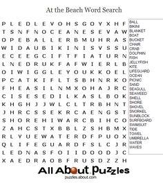 Beach Word Search - Free Printable - AllFreePrintable.com