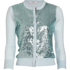 L'Wren Scott Sequin Classic Cardigan ($2,095) ❤ liked on Polyvore featuring tops, cardigans, outerwear, sweaters, l'wren scott, mint, mint top, green top, l'wren scott cardigan and mint green top