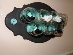 Repurpose Baby Food Jars into a Bathroom Storage Plaque. Details and more clever uses of baby jars here--> homestead-and-sur. Baby Food Jar Crafts, Mason Jar Crafts, Baby Crafts, Mason Jars, Food Crafts, Baby Jars, Baby Food Jars, Food Baby, Baby Food Storage