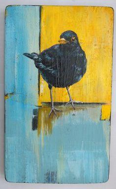 "Blackbirds Crows Ravens:  ""#Blackbird & Yelow Square,"" by Steven Ferguson; Acrylic 2013 Painting."