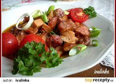 Ražniči v zapékací misce recept - TopRecepty.cz Pork, Beef, Treats, Chicken, Ethnic Recipes, Boleros, Red Peppers, Kochen, Pork Roulade