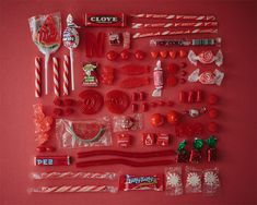 "All candy & sweets were stored & arranged in colours & themes. Everything is to be discovered through its ""Sugar Series"" via All Candy, Candy Art, Pink Candy, Design Set, Design Ideas, Things Organized Neatly, Red Aesthetic, Shades Of Red, Candy Colors"