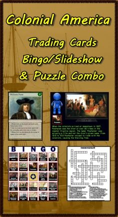 This Colonial America combo pack contains the deck of 54 trading cards, the Bingo/Slideshow (PC & Mac) software with 40 bingo cards, two crossword puzzles and two word searches. Bonus features include additional games, directions for making trading cards, and instructions to make your PowerPoints talk. ($)