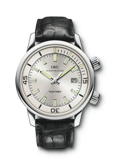 Item# W323105 IWC Vintage Aquatimer in platinum on black crocodile strap. Limited Edition of 500.