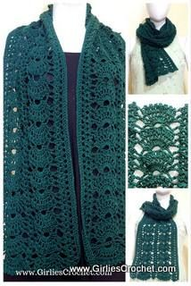 This is a free crochet pattern for Gina Crochet Scarf.