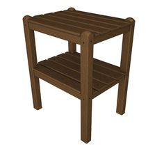 Polywood TWSTTE Two Shelf Side Table in Teak