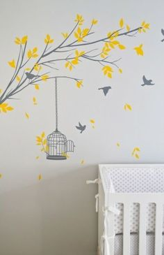 Suzie: Turquoise LA - Adorable yellow & gray tree branch wall mural and white crib.