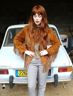 70's fringed leather Jacket This jacket paired with a cute grungey dress is so chic!