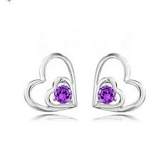 Graceful Sterling Silver Met Crystal Heart Cut Stud Earrings (meer kleuren) – EUR € 6.59