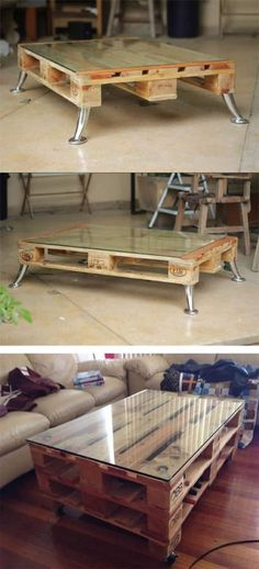 DIY instructions for a pallet coffee table with hairpin legs, furniture yourself .DIY instructions for a pallet coffee table with hairpin legs, furniture yourself . Diy Pallet Projects, Pallet Ideas, Wood Projects, Pallet Patio Furniture, Diy Furniture, Furniture Design, Palette Furniture, Metal Furniture, Furniture Plans