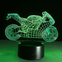 LED Night Light Art Deco 3D Motocicleta Interruptor de Toque Lâmpada de Mesa Luz Da Noite Quarto Caçoa o Presente Criativo 3D ilusão Lâmpada