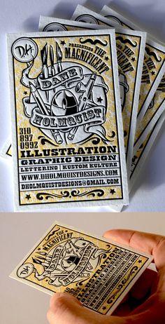 Business Card for an illustrator, letter press
