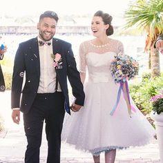 KD bride Sophie and her beau Mikey - resplendent on their Disney wedding day. Disney Bride, Wedding Bouquets, Wedding Dresses, Pearl Dress, Bride Book, Cat Dresses, Queen Dress, Bridal Sash, Dream Dress