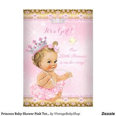 princess baby shower pink tutu gold tiara ethnic 5x7 paper, Baby shower invitations