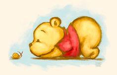 Winnie the Pooh - Baby Pooh Bear Illustration Art Print by faedri