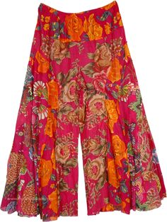 Crimson Flowery Flared Palazzo Pants-S Long Skirt Fashion, Boho Fashion, Fashion Dresses, Fashion Hats, Fashion 2018, Fashion Ideas, Winter Fashion, Palazzo Pants, Dance Outfits
