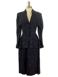 1940 | Navy Blue, Gray, and Cream Tweed Peplum Suit with Exaggerated Fold Back Collar by Lilli Ann