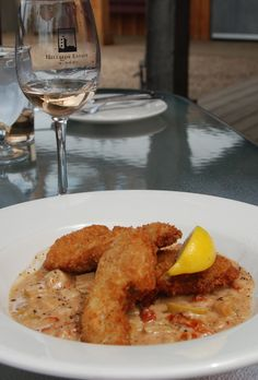 Crispy oysters & Pinot Gris at Hillside Winery Bistro.
