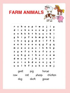 Farm Animals Word Search Puzzle