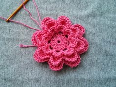 """My new motif decorated with flowers This motive I crocheted with cotton thread crochet """"Koral"""" no. Crochet Puff Flower, Crochet Flower Tutorial, Crochet Headband Pattern, Crochet Butterfly, Crochet Flower Patterns, Crochet Baby Hats, Crochet Designs, Crochet Flowers, Afghan Crochet Patterns"""