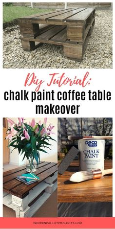 Check this post out for a quick pallet coffee table makeover with chalk paint. Easy furniture makeover that I did to my upcycled coffee table in one afternoon. Check how I got this distressed look using paint on wood so you can do it too! #coffeetablemakeoverchalkpaint #upcycledpalletcoffeetable #distressedlook Diy Projects Plans, Wooden Pallet Projects, Diy Furniture Projects, Furniture Makeover, Upcycling Projects, Pallet Ideas, Coffee Table Makeover, Painted Coffee Tables, Homemade Home Decor