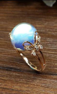 【Jewelry in My Box】butterfly art deco blue moonstone women ring