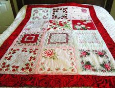 Great idea! Using the old hankerchiefs to make throw quilts.