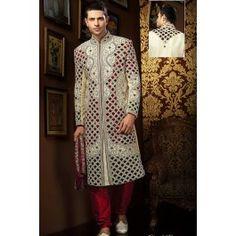 Presenting Cream Banarasi Silk #Sherwani with Embroidered Order Now@ http://zohraa.com/men/sherwani/officewear-casual-cream-faux-georgette-and-viscose-premium-kurti-fab-qfkrk25tpdtl.html Rs. 32427.
