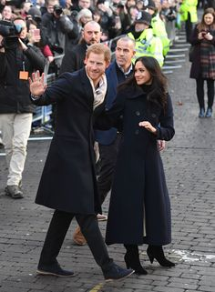 Prince Harry and Meghan Markle during a visit to the Nottingham Contemporary in Nottingham, to attend a Terrence Higgins Trust World AIDS Day charity fair on their first official engagement together. (Photo by Victoria Jones/PA Images via Getty Images) via @AOL_Lifestyle Read more: https://www.aol.com/article/lifestyle/2017/12/01/melania-trump-chanel-ensemble-christmas-tree-lighting/23294277/?a_dgi=aolshare_pinterest#fullscreen