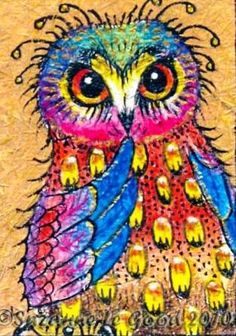 'Wondering Owl' by Suzanne Le Good. I believe this is oil pastels, love the bright colors.