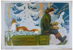 Finnish Artist Rudolf Koivu Fox and Fisherman Fairy Tale Count X Stitch Pattern 769572903217 Fairy Tale Story Book, Fairy Tales, Vintage Book Art, Baumgarten, Children's Book Illustration, Book Illustrations, Illustrators, Folk Art, Sculptures