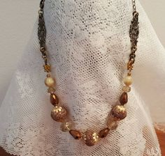 Womens Fashion Bead Necklace, Brown Bronze Statement Fashion Jewelry, Antique Bronze Chain, Unique, Gift, Bronze Filigree, Vintage Style by MulberryFarms on Etsy