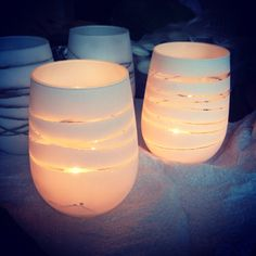 Cool votives made with string and paint