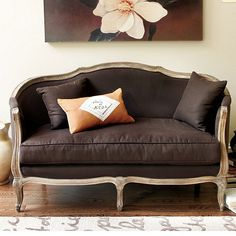 Sofia Settee---SOMEDAY, in the sunroom-natural flaxen w oak finish