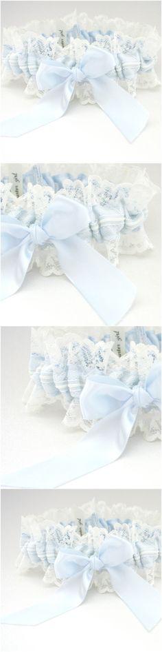 Custom Ivory Lace and Light Blue wedding garter-by The Garter Girl