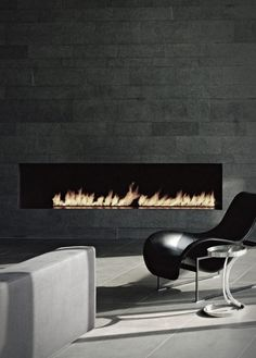 contemporary designed fireplace and decor