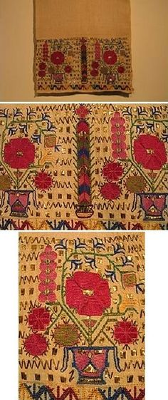 """Greek 'Tsevres' (a decorative accessory) from Thrace. 19th century. Could also be used – if long enough - as sash (uçkur/waist band) for women; or as a handkerchief, worn in the waist belt (by both men and women). Motif: vase of life"""" with poppies and cypress trees. Silk thread, gold wire on cotton - Counted thread stitch. (from: The Greek Institute)."""