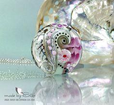 Handmade lampwork bead focal -- lentil -- SRA -- art glass -- A n g e l a  -- made by Silke Buechler