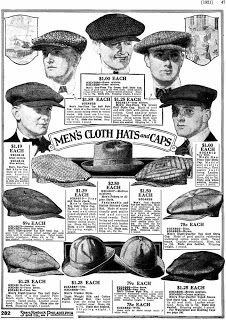 Vintage Men's Caps From Sears Roebuck Catalog, 1921