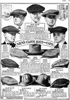 Vintage Men's Caps From Sears Roebuck Catalog, 1921