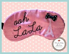 Ooh LaLa Paris Theme Sleep Mask Handmade by EmbroideryBySabrina, $10.00