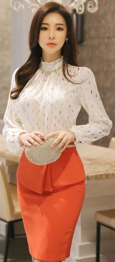StyleOnme_Front Flap Detail Belted Pencil Skirt #orange #springtrend #pencilskirt #elegant #feminine #koreanfashion #kstyle #seoul #dailylook #kfashion #skirt